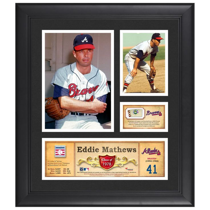 """Eddie Mathews Atlanta Braves Fanatics Authentic Framed 15"""" x 17"""" HOF Collage with Piece of Game-Used Ball"""