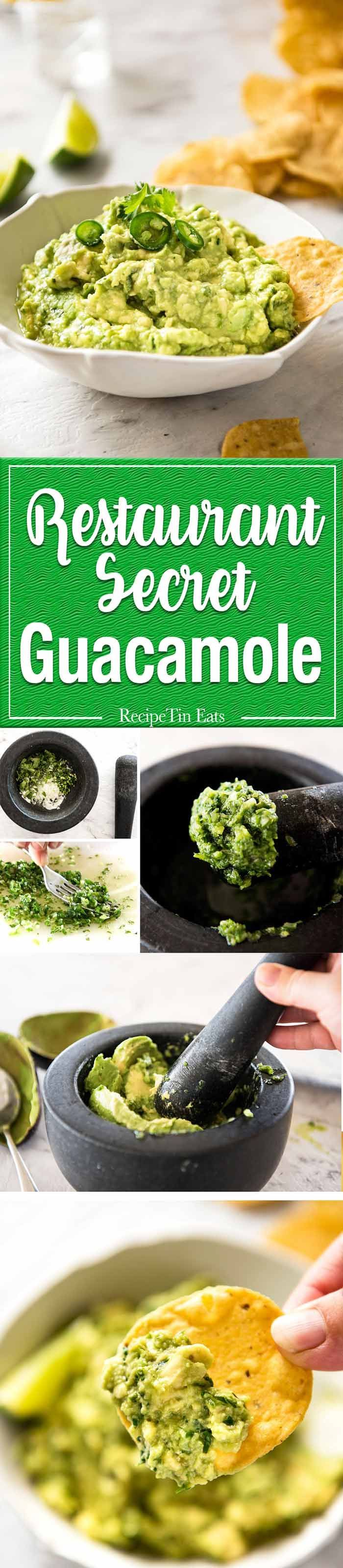 An authentic Guacamole recipe, the way it's made in Mexico and by top Mexican restaurants around the world. The secret step is to make a paste with onion, jalapeno/serrano and coriander/cilantro. Makes all the difference! http://www.recipetineats.com