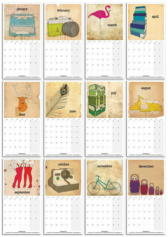 2014 Calendar  Loose Sheets  145 x 285mm / 5.7 x by MissMegShop, $20.00