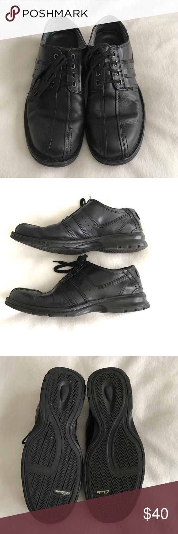 Men's Clarks black leather lace up shoes size 10.5 Men's Clarks black leather lace up shoes size 10.5. Gently used. Clarks Shoes Oxfords & Derbys