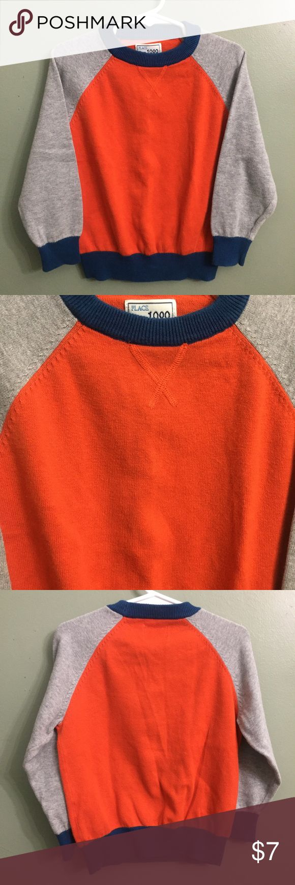 """B2G1EUC Children's Place Orange Sweater, XS 4 EUC Children's Place Orange Sweater, XS 4This item is eligible for the """"Buy 2 Get 1 Free"""" promotion in my closet with a minimum purchase of $15. Free items are to be of equal or lesser in value than the other items. Children's Place Shirts & Tops Sweaters"""