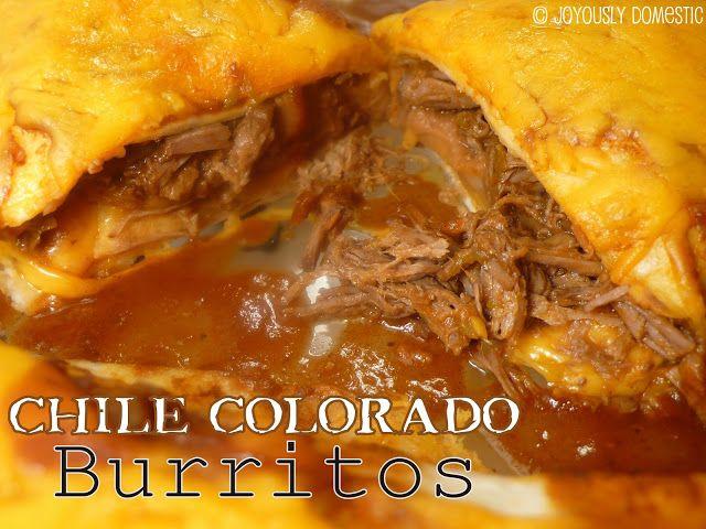 Slow cooker beef burritos  http://www.joyouslydomestic.com/2012/11/chile-colorado-burritos.html