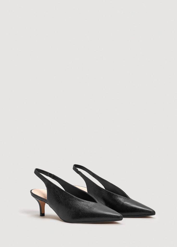 Läderskor hälrem - Damer | MANGO Sverige