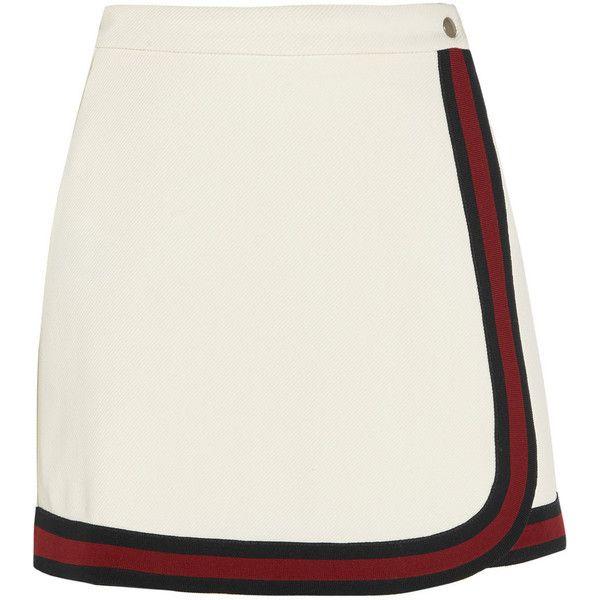 Gucci Stripe-trimmed jersey mini skirt ($435) ❤ liked on Polyvore featuring skirts, mini skirts, gucci, white, gucci skirt, jersey skirt, white jersey and short mini skirts