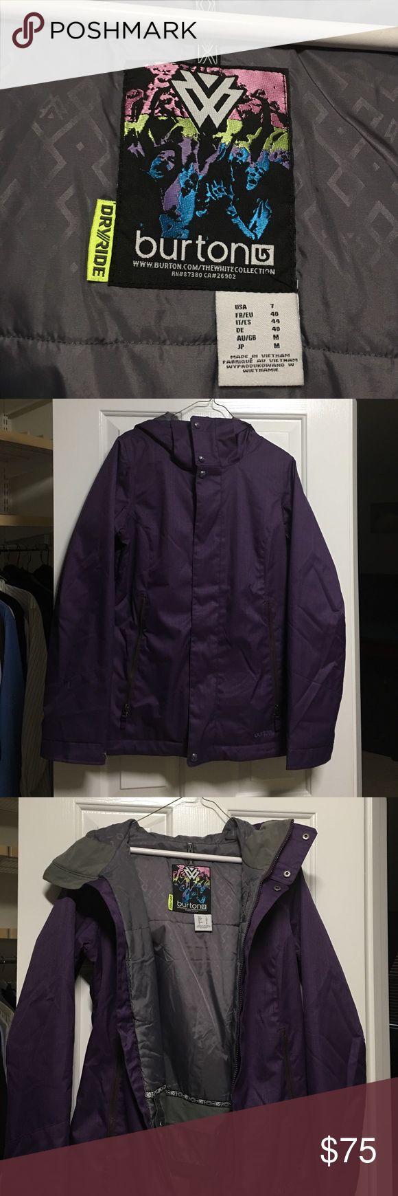 Women's Burton Ski Jacket - Purple Cool deep Purple Burton Jacket.  Worn twice (moved to south, don't use now).  Perfect shape!  Size 7.  Two front pockets.  Very Warm.! Smoke free home. Burton Jackets & Coats