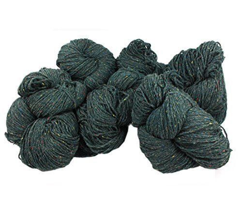 Aran Knitting Yarn 100% Wool Green Fleck Six Hanks *** Click on the image for additional details.