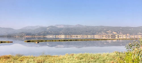 early morning Levkada City reflections in the  Sea , Levkada Islanda ,Greece