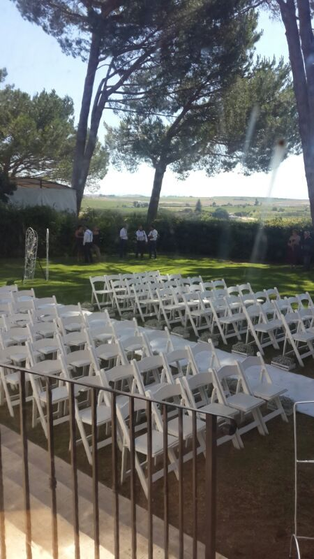 Forest themed wedding - Ceremony area with Wimbledon chairs