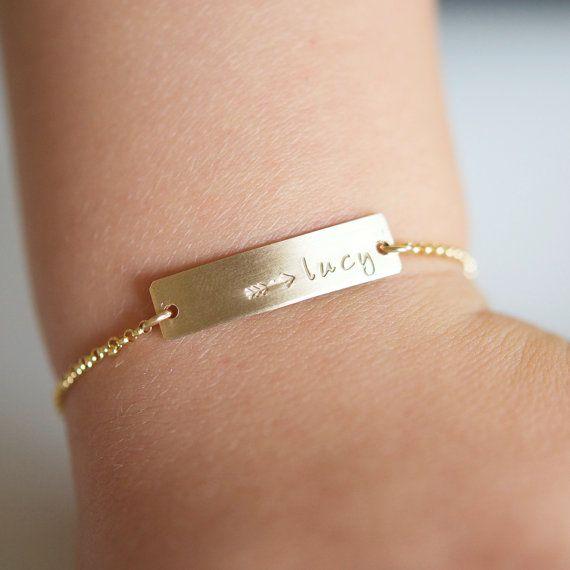 Gold Baby Bracelet - 14kt Gold Filled Bracelet- Small Child Bracelet - Name plate Bracelet