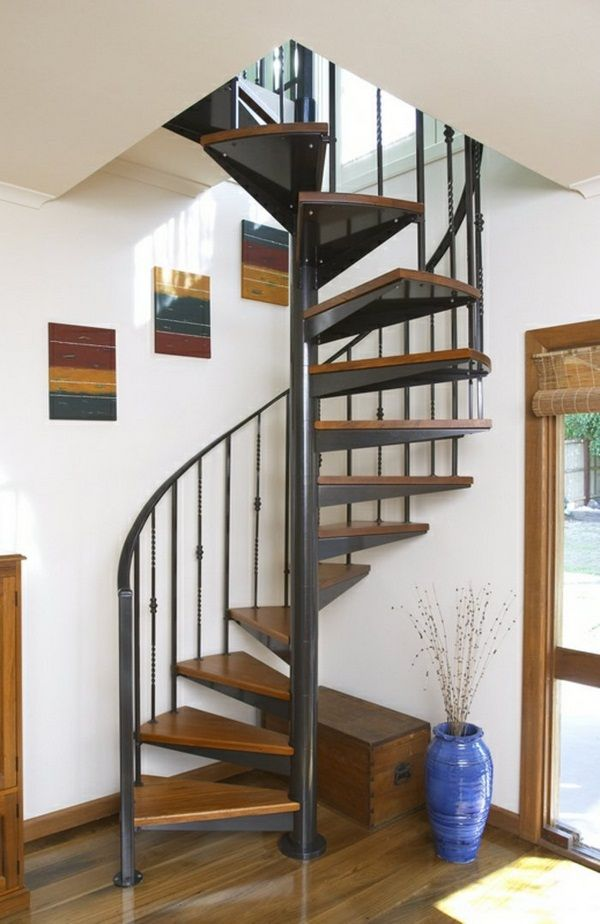 Spiral staircase Wood Metal Interiors