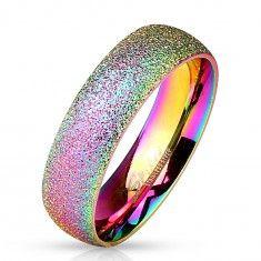Duhový prsten z oceli 316L se třpytivým povrchem, 6 mm