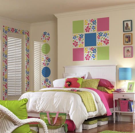 Get color on the walls without paint with wall decals. Wall-Pops (www.wall-pops.com) come in huge squares to add wallpaper-like color and patterns without sacrificing the wall's finish