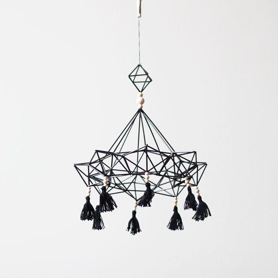 Items similar to himmeli no. 9 - hanging mobile - modern mobile - sculpture - geometric - black - finnish design - home decor on Etsy