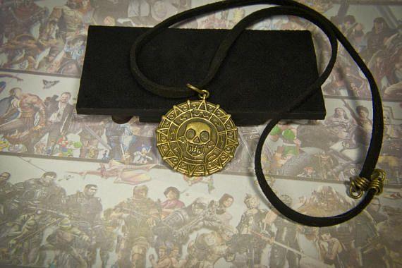 Piratas de la Caribe moneda colgante moneda de oro Azteca