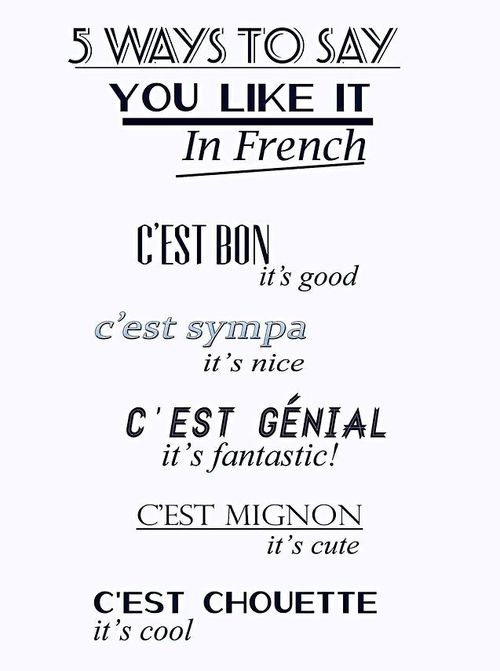 5 ways to say you like it in French