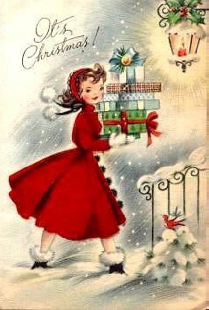 Vintage Christmas card with a young woman carrying wrapped gifts.