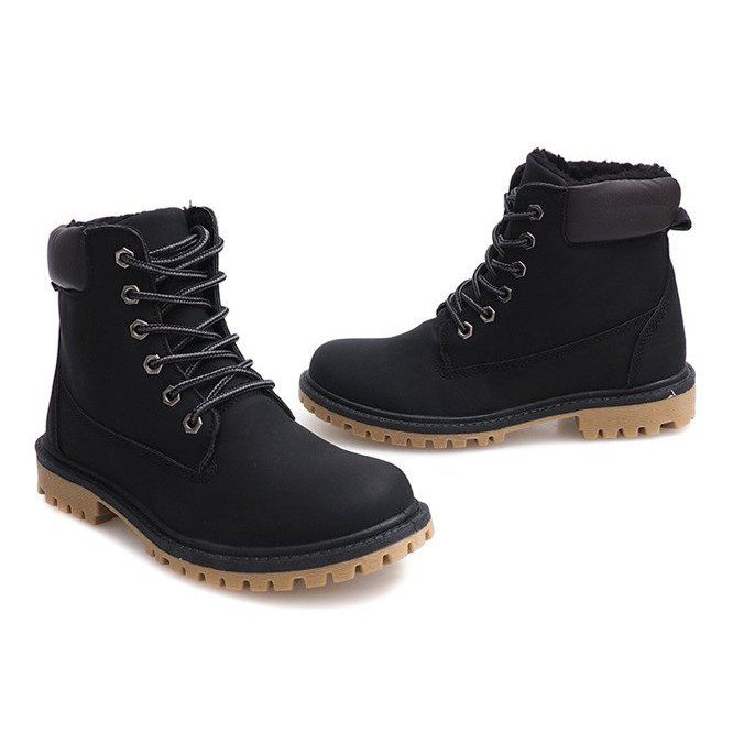 Jesienne Timberki Trapery B788 Czarny Czarne Boots Timber Boots Wide Heels