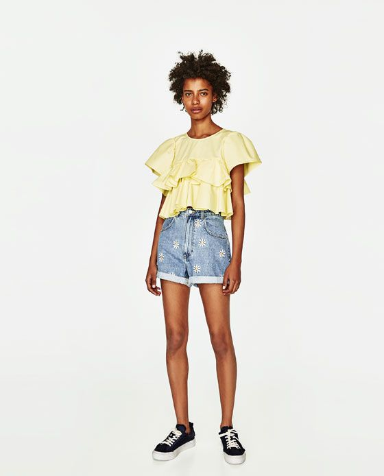 ZARA - TRF - BERMUDA SHORTS WITH EMBROIDERED DAISIES