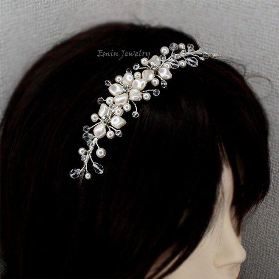 Pearl Bridal Headband, Wedding Hair Accessories, Crystal Ivory White Pearls Headband Head Band Hair Band, tiara, Bridal hair piece
