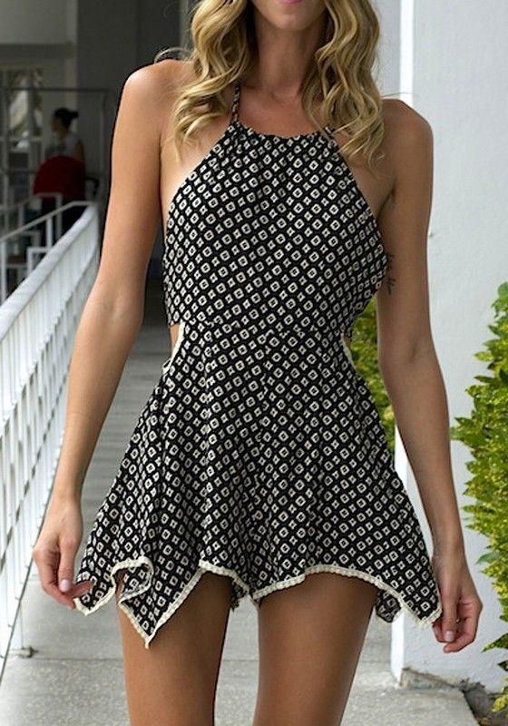 Black Floral Irregular Sleeveless Short Jumpsuit