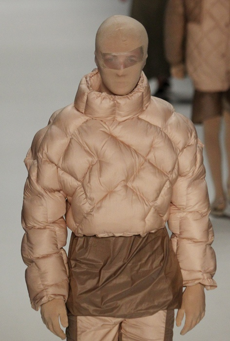 New kind of puffy coat. Plus nylon for your head. You know... in case you want to rob a bank or something.