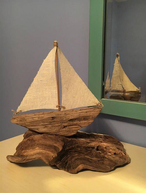 Driftwood Sailboat Nautical Driftwood Art // Driftwood Beach
