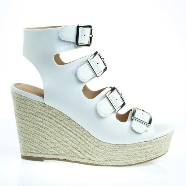 Hamza White by City Classified, Gladiator Sandal On Espadrille... ($34) ❤ liked on Polyvore featuring shoes, sandals, rope sandals, white gladiator sandals, roman sandals, strappy platform sandals and roman gladiator sandals