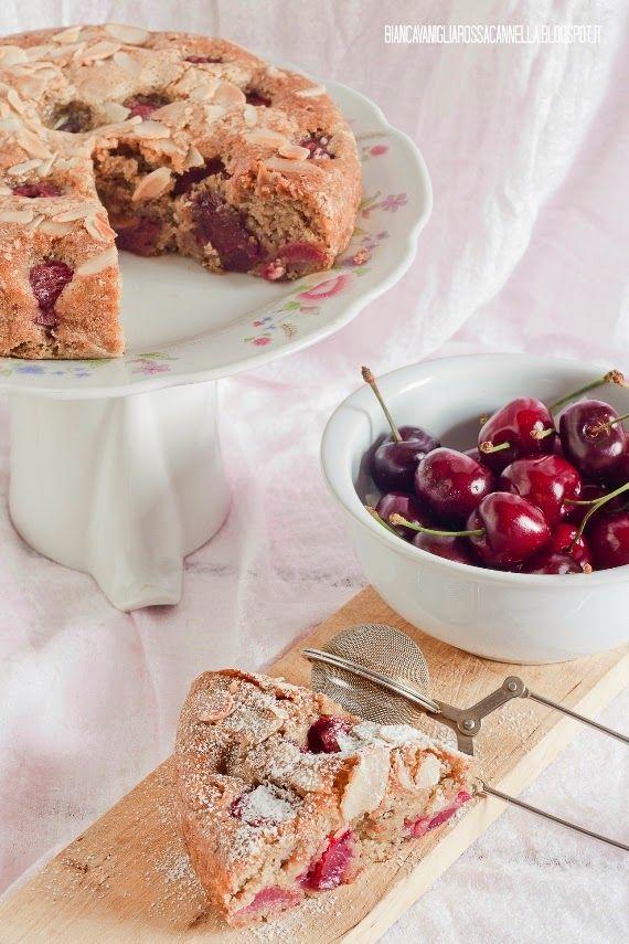 Bianca Vaniglia Rossa Cannella: Torta soffice alle ciliegie al profumo di limone (senza uova e burro)