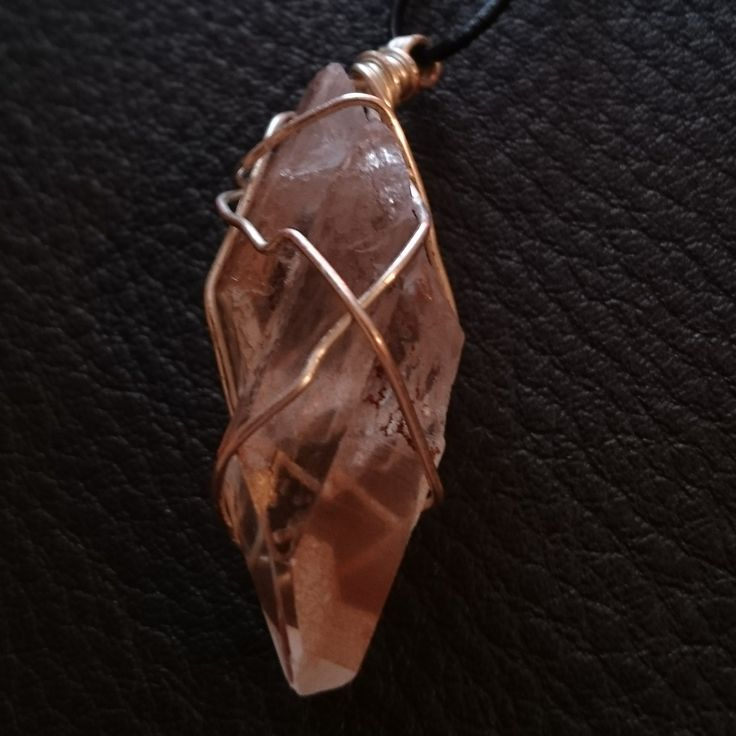 Tangerine Quarts (1/2)  #openmind #crystal #wirewrap #ascensionenchanted #handmade #necklace #pendant