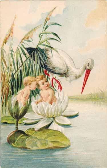 Illustration bébés d'antan