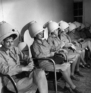 Toni FRISSELL :: WAAC Officers Sitting Under Hair Dryers at Salon, 1943