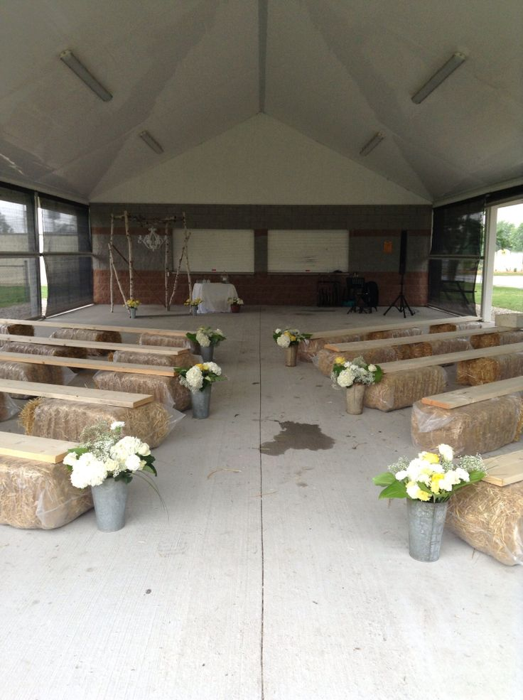 Ceremony site - plan b due to rain - bales and boards - sap buckets