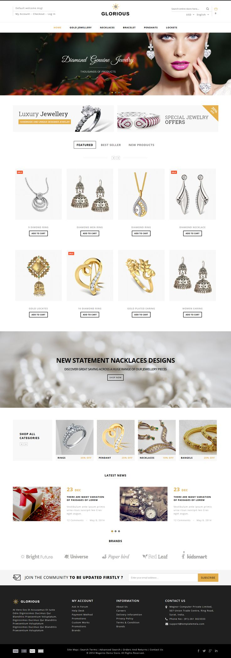Glorious Magento Responsive Theme is specially designed for fashion #design, electronics, mobile, foods, #jewelry, tools, auto & spare parts and multipurpose #stores.   #eCommerce