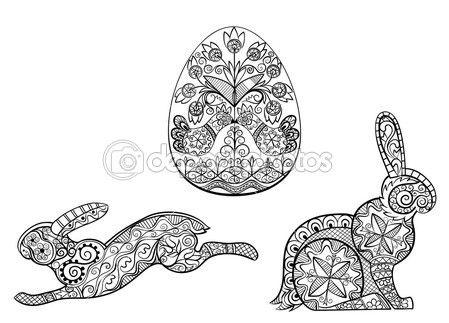 Páginas para colorear símbolos del huevo de Pascua liebre conejo — Vector de stock
