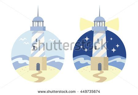 The image of a lighthouse in the sea. Day and night. Flat icon. Vector. Blue, yellow colors.