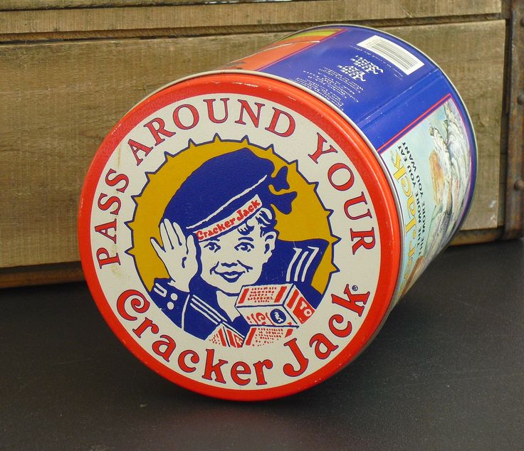 Sold. Vintage Cracker Jack Storage Tin, Mascots Sailor Jack and Bingo, Frito Lay Snack, Metal Canister, Kitchen Storage, Metal Storage Tin by AgsVintageCove on Etsy
