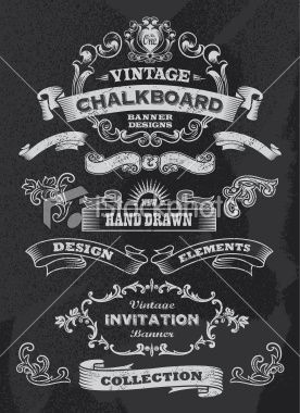 chalkboard design elements retro banner and ribbon set royalty free stock vector art illustration