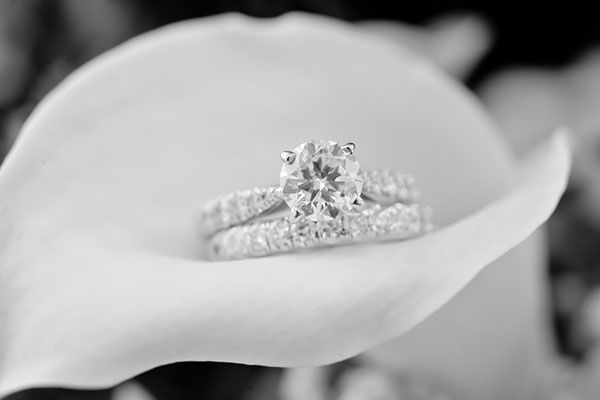This tapered engagement ring and wedding band set prove that gaps can be quite beautiful.Photo Credit: Dahlphotog