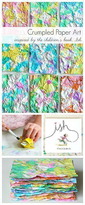 Crumpled Paper Art Activity for Kids inspired by the children's book, Ish! Super fun process art project for kids of all ages. Use the colorful paper for collages, notes, and more! ~ http://BuggyandBuddy.com