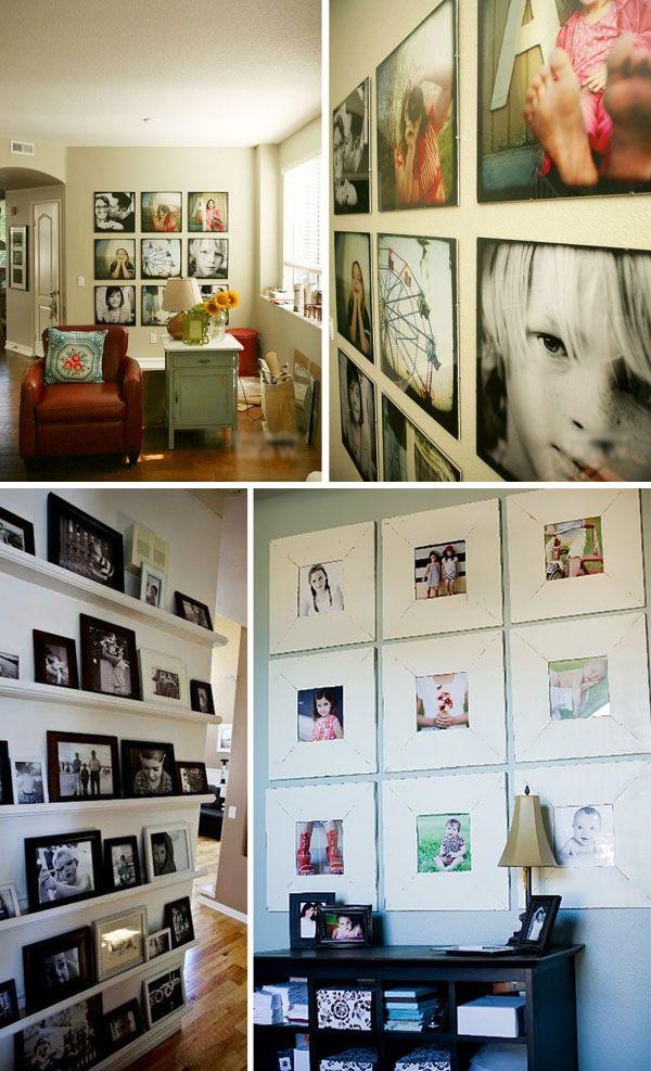 Equilibra fotos en #blancoynegro con fotos en color y consigue una pared como éstas #decoracion #fotos