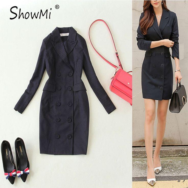 Showmi zwarte blazer dress vrouwen lange mouw knoppen double breasted dress korte elegante streep bodycon formele kantoor jurken
