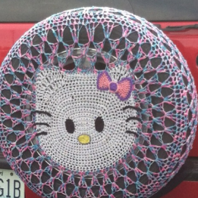 Crochet Hello Kitty tire cover!