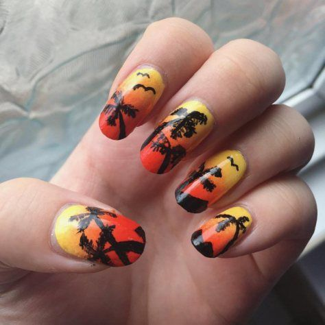 palm tree nail art designs 2017 |