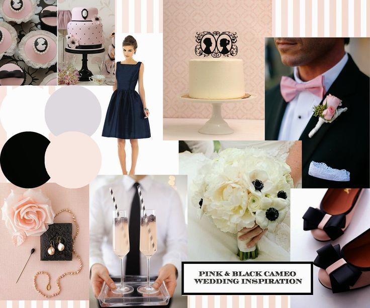 Blush Pink & Black 'My Fair Lady' wedding inspiration from http://knotsandkisses.blogspot.com