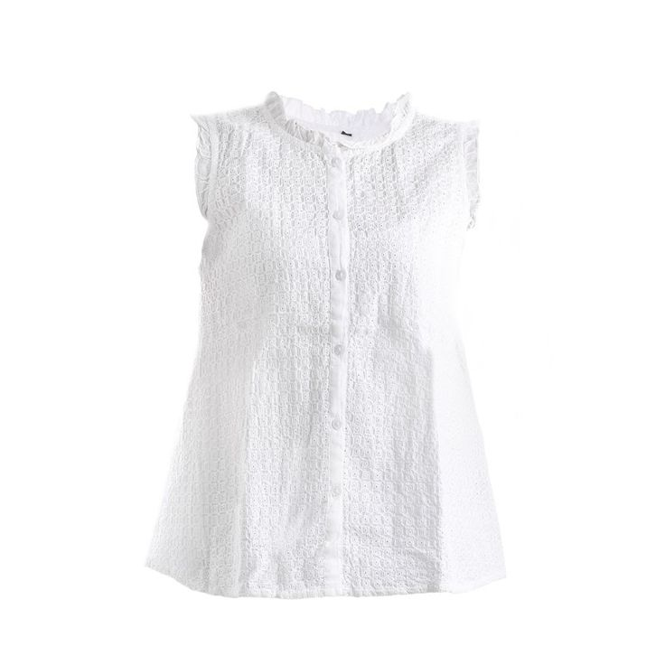 SLEEVELESS SHIRT IN WHITE COLOR - Blouses-Shirts - Clothes