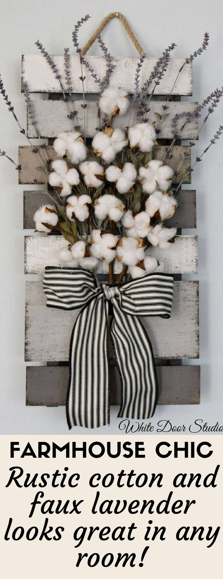 Farmhouse Decor - This Cotton and Lavender Wall Hanging is backed with pallet wood and looks stunning anywhere in your house! This is my referral link so I receive a small commission at no cost to you if you buy xoxo