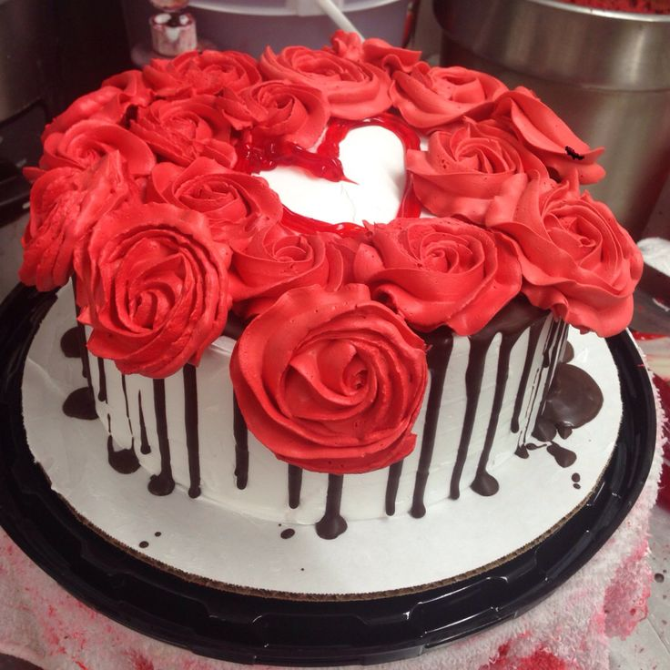 Red-Velvet Cake decorated w roses, choc., &of course a heart ☺️ ...