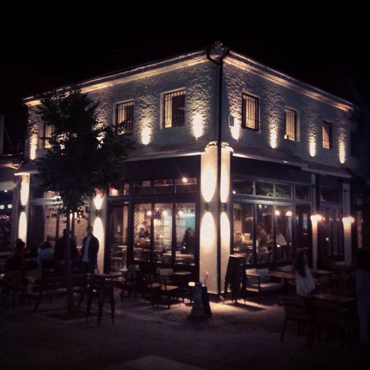 Cadillac records Bar, Greece , karditsa  #karditsa #greece #building #exterior #design #bar #lights