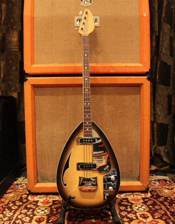 Vintage 1960s Vox Teardrop Bill Wyman Signature Tobacco Sunburst Bass Guitar