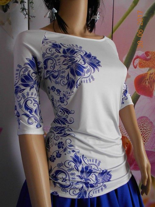 Blue & Beige folk - tričko s potlačou II.